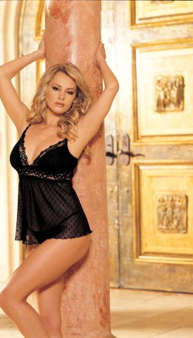 SNOWFLAKE PATTERNED STRETCH HELENKA MESH AND STRETCH LACE BABY DOLL
