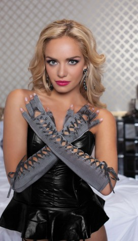 Fingerless Elbow Length Lace-Up Gloves with Satin Ribbon
