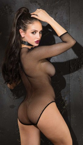 STRETCH FISHNET AND PVC 3/4 SLEEVE TEDDY