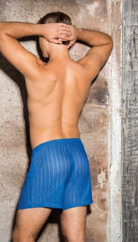 SUBTLY SHEER POLY STRIPE KNIT BOXER SHORTS