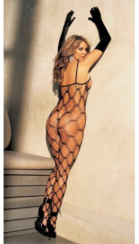BIG OPEN DIAMOND PATTERNED FISHNET BODYSTOCKING
