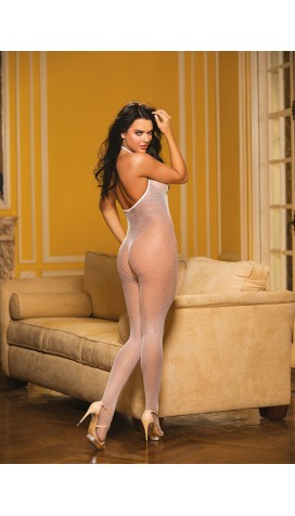 FISHNET AND EYELASH BODYSTOCKING