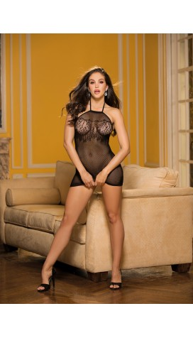 MICRO FISHNET AND LACE CHEMISE