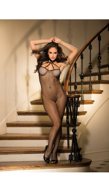 FISHNET OPEN FRONT BODYSTOCKING