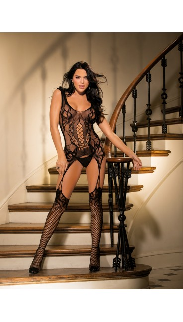 FISHNET AND MESH BODYSTOCKING