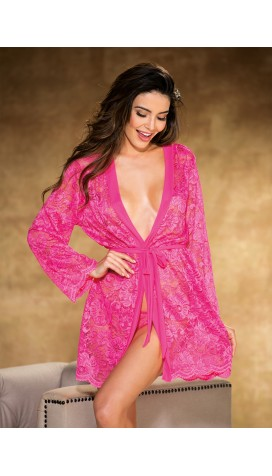STRETCH LACE LONG SLEEVE ROBE
