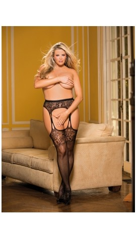LACE AND MESH SUSPENDER PANTYHOSE