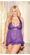 STRETCH LACE AND CHIFFON HALTER BABYDOLL