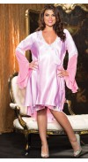GORGEOUS CHARMEUSE AND LACE BALLERINA LENGTH ROBE