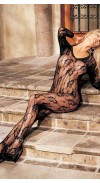 FLORAL LACE BODYSTOCKING, OPEN FRONT