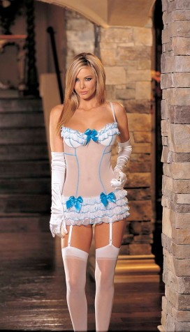 STRETCH SHEERMESH WITH RUFFLES AND BOWS CHEMISE AND STOCKINGS SET