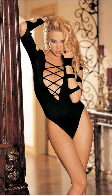 STRETCH KNIT STRAPPY LONG SLEEVE CUT-OUT THONG BODYSUIT