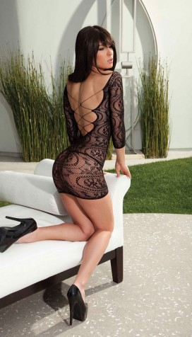 STRETCH LACE LONG SLEEVE MINI DRESS WITH CRISS CROSS BACK
