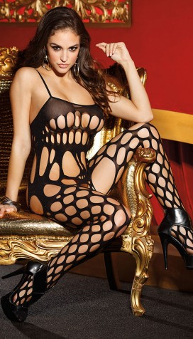 BIG HOLE NET OPEN FRONT BODYSTOCKING