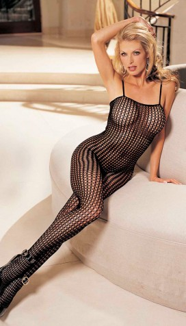 HONEYCOMB LACE BODYSTOCKING, OPEN FRONT