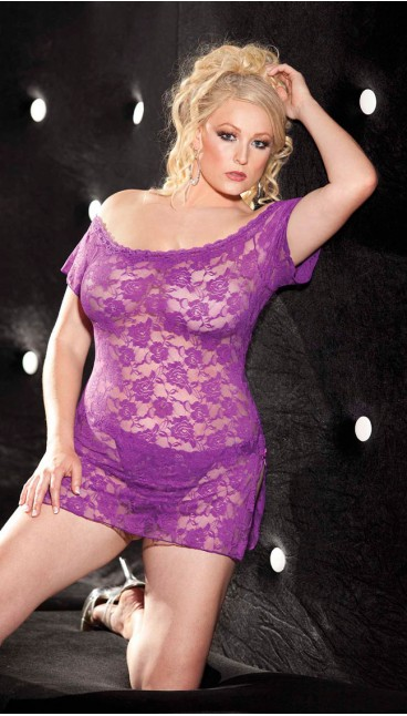 STRETCH LACE CHEMISE AND PANTY