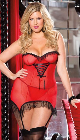 Extremely sensual XXL chemise with lacing