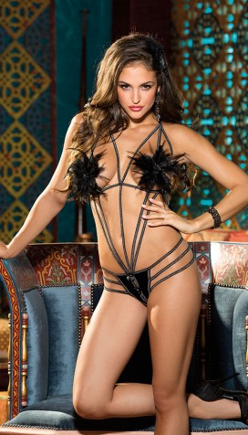 STRAPPY FEATHER THONG TEDDY