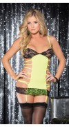 ULTRA SEXY MICRO KNIT AND STRETCH LACE GARTERED CHEMISE