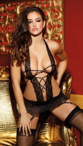 STUNNINGLY SEXY STRETCH LACE BAND GARTERED CHEMISE